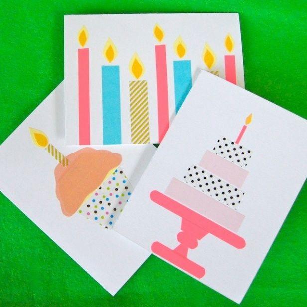 ロウソク、ケーキ、アイスなどをマステでカードに模様してみよう