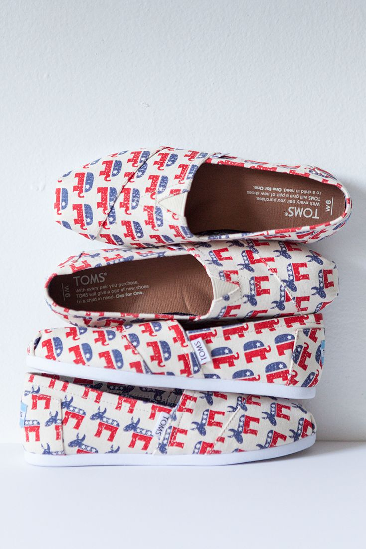 Everyone has a voice. Stand up and support in the new Election Collection from TOMS Shoes. One for One.