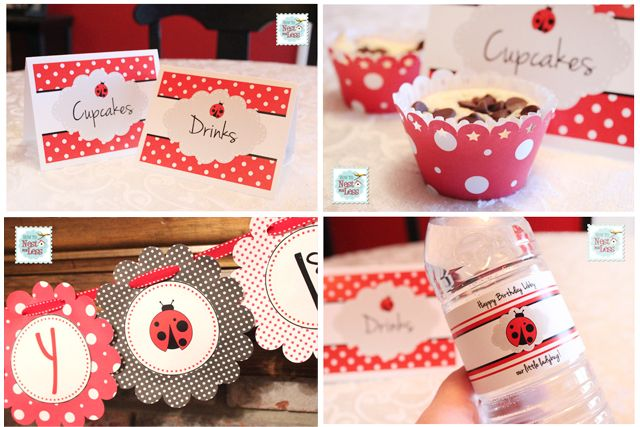 Free ladybug birthday printables. Includes birthday banner, food cards, cupcake wrappers, water bottle labels.