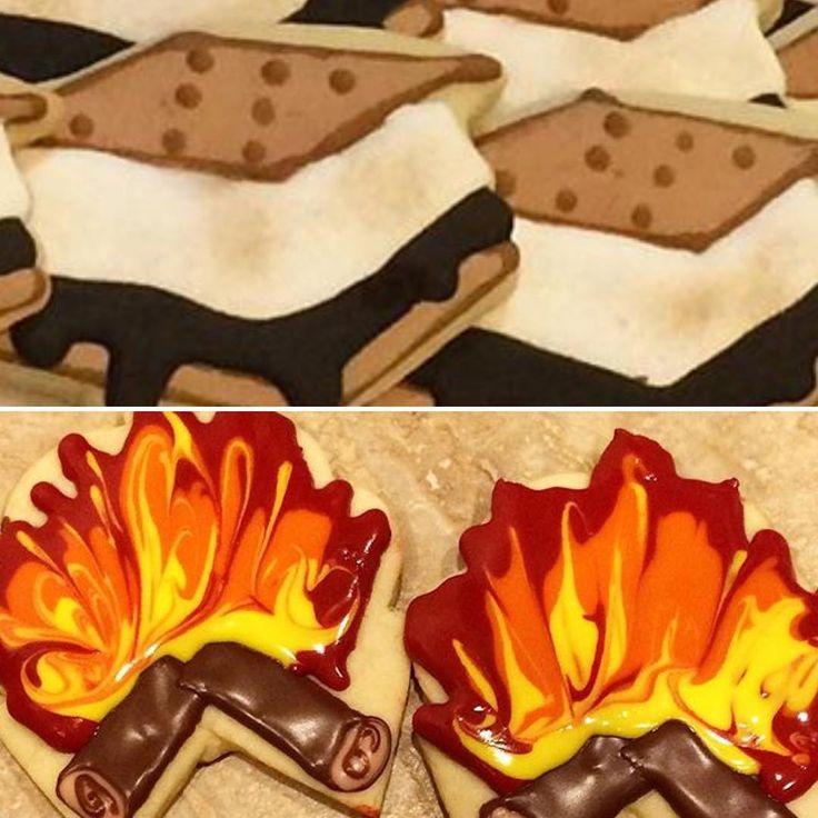 Lag baomer cookies!!! Place your order online www.minibitescookies.com #bonfirecookies #lagbaomer #smorecookies #smores #lagbaomercookies