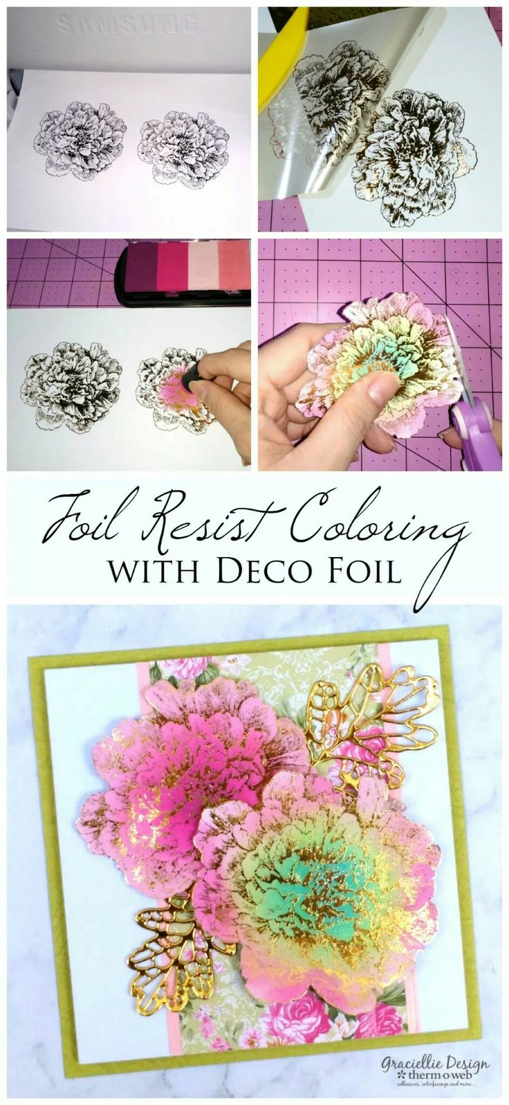 DIY Foil Resist Coloring with Deco Foil and Pigment Inks. Step by step tutorial.