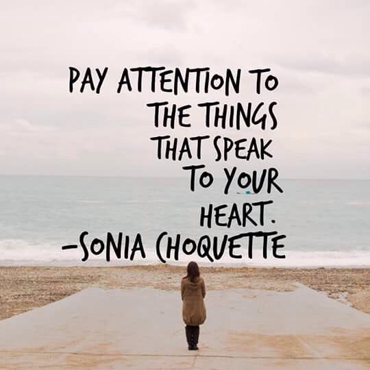 Pay attention to the things that speak to your heart-Sonia Choquette