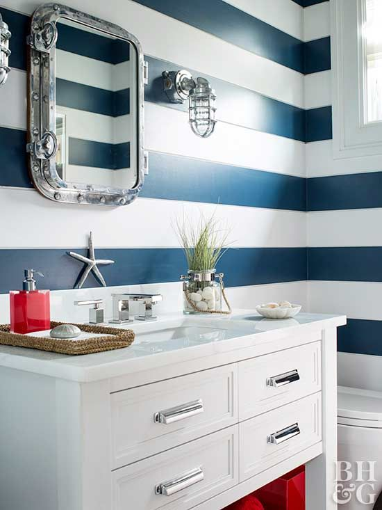 In a sophisticated tone-on-tone color scheme or delightfully bright blend of hues, stripes add interest to plain walls.