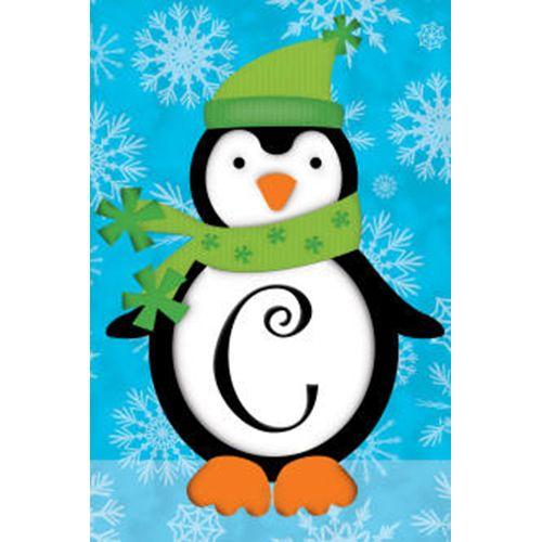 C Perky Penguin Monogramed Flag: Flagsrus.org