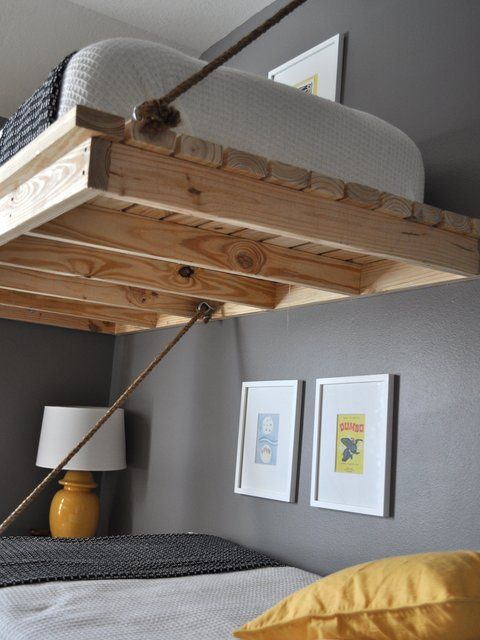 2 x 4 and rope bunkbeds boys room
