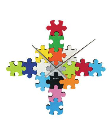 Look what I found on #zulily! Rainbow Puzzle Wall Clock #zulilyfinds