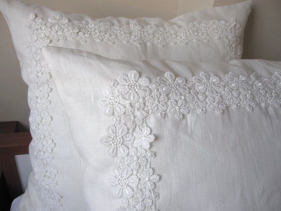 Solid White Ivory Linen Pair Euro Shams French Guipure