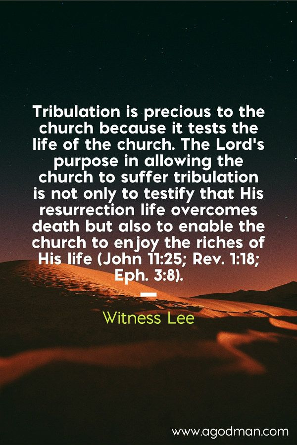 Tribulation is precious to the church because it tests the life of the church. The Lord's purpose in allowing the church to suffer tribulation is not only to testify that His resurrection life overcomes death but also to enable the church to enjoy the riches of His life (John 11:25; Rev. 1:18; Eph. 3:8). Witness Lee. More at www.agodman.com