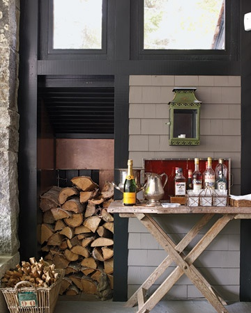Great bar!: Porch S Copper Lined, Tray Functions, Copper Lined Wood, Leaving Floors, Makeshift Bar, Butler S Tray, Floors Clean, Wood Boxes, Wood Pile