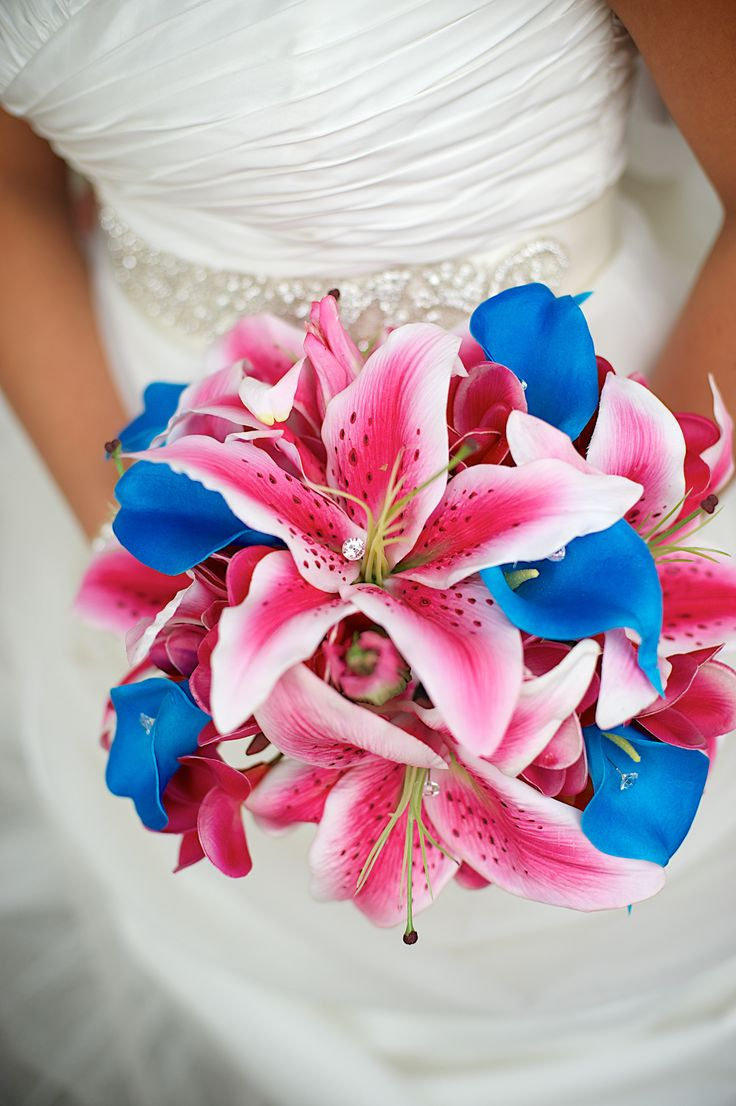 Caribbean blue fuchsia pink beach wedding florida for Wedding pink and blue
