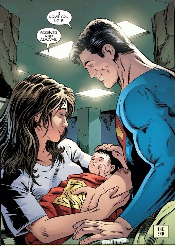 Superman and Lois Lane with their baby boy, Jonathan Samuel Kent.
