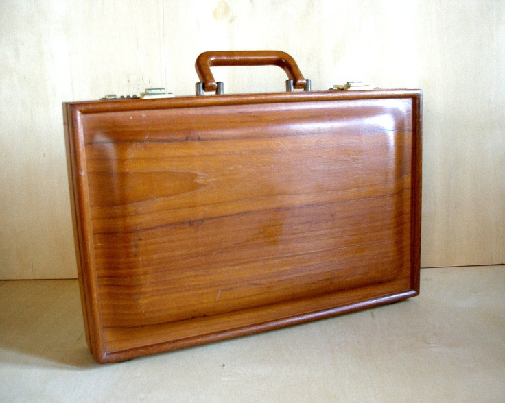 Vintage 1970's Mid Century Briefcase Solid Teak Wood Frame and Raised Panel Construction Danish Modern Retro. $135.00, via Etsy.