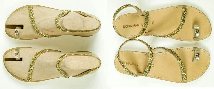 Leather Sandal with Gold Strass