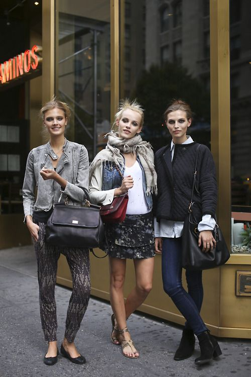 Constance Jablonski, Ginta Lapina and Karlina Caune Off Duty: Models Off Duty, Casual Street Style, Prints Pants, Adorable Outfits, Fashion, The Center Lapina, Street Style, Black Boots, Constanc Jablonski