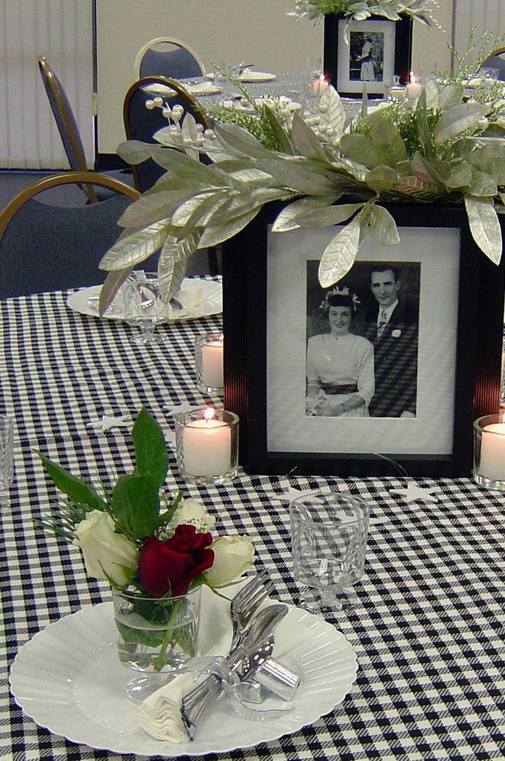 Mom S 80th Birthday Party With 4 Sided Photo Centerpieces