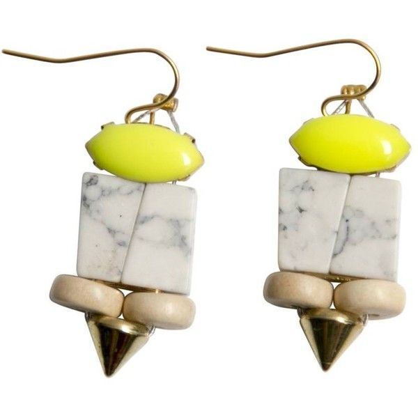 History + Industry Osmunda Earrings White, Neon Yellow By History +... ($38) ❤ liked on Polyvore featuring jewelry, earrings, neon yellow jewelry, white jewelry, wooden jewelry, wood jewelry and wood earrings