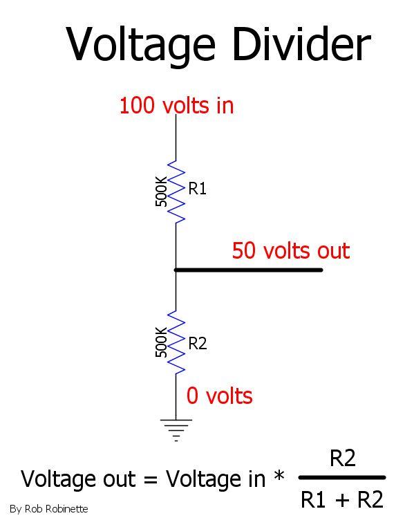 Voltage divider and formula by RobRobinette.com