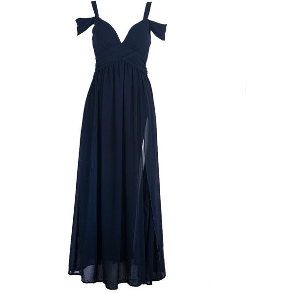Choies Cold Shoulder Wrap Maxi Prom Dress in Navy (4745 ALL) ❤ liked on Polyvore featuring dresses, gowns, vestidos, long dresses, blue, maxi dress, navy maxi dress, prom dresses and long maxi dresses