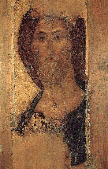 """The Saviour"" by Russian iconographer Andrei Rublev.  Tretyakov Gallery."