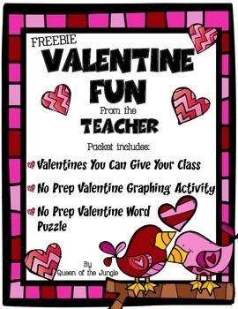 Valentine Cards And Activities Free School Tpt Pinterest