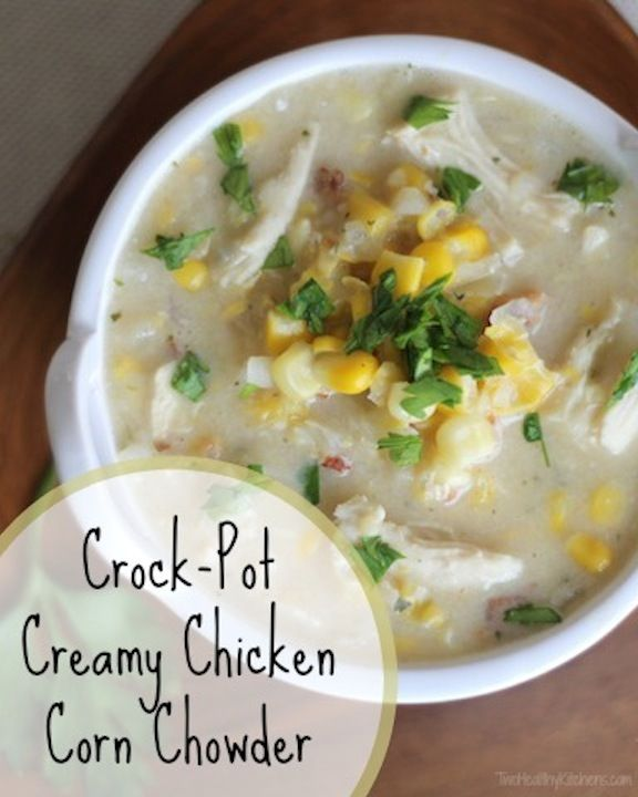 Easy dinner recipe! Just toss everything in the slow cooker! A creamy, satisfying soup with the sweetness of corn and just a hint of smoky bacon. Healthy and delicious!