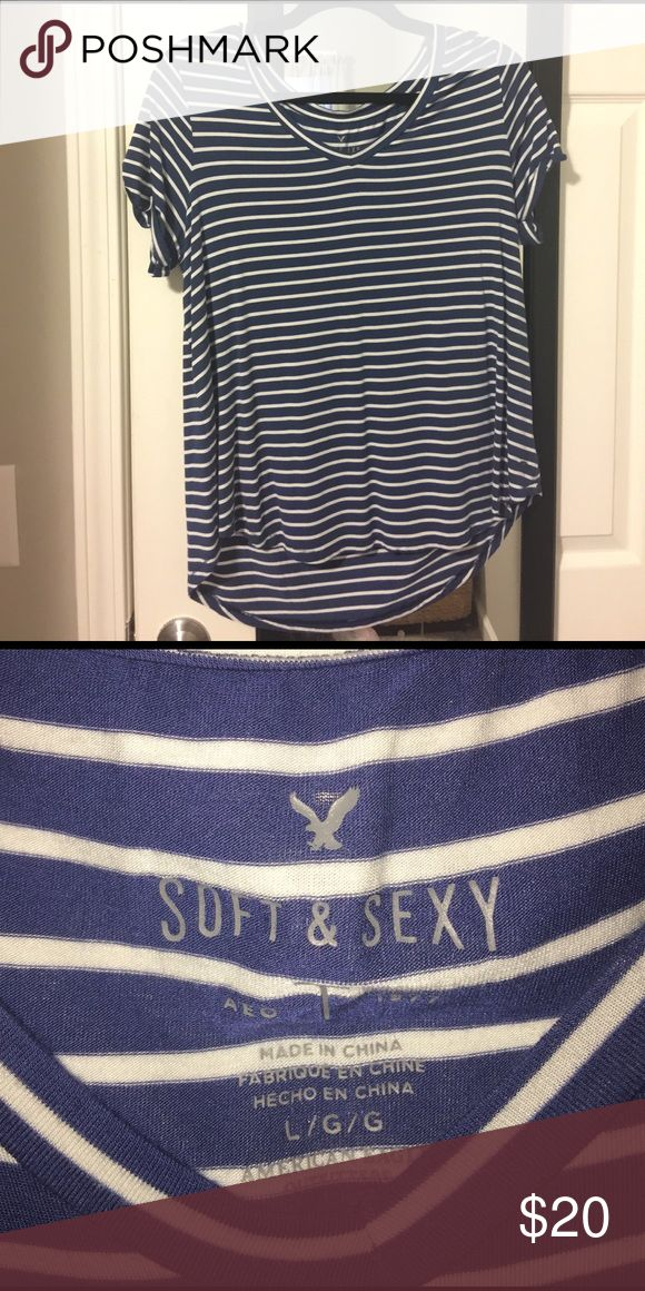 Striped American Eagle soft & sexy tee Navy blue and white striped American Eagle soft & sexy tee. Worn once for a few hours. This shirt is a high low, longer in the back and shorter in the front. Open to offers! American Eagle Outfitters Tops Tees - Short Sleeve