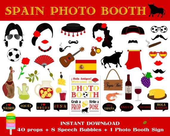 PRINTABLE Spain Photo Booth Props–Photo Booth Sign-Spanish Party Props-Fiesta España Props-Spain Photo Props-Spanish Props-Instant Download PRINTABLE set of 49 pieces: 40 props, 8 speech bubbles, 1 photo booth sign. ******************************************************************** *** This is an INSTANT DOWNLOAD digital file and NO physical item will be shipped! *** ******************************************************************** *** HOW TO ORDER *** * Add this listing to your cart…