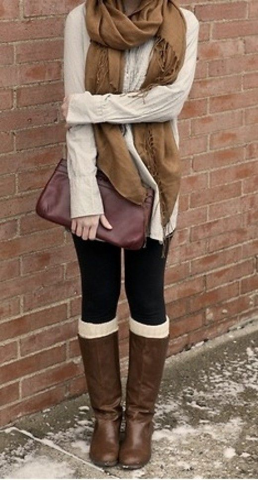 Fall outfits - Cream / Black / Brown