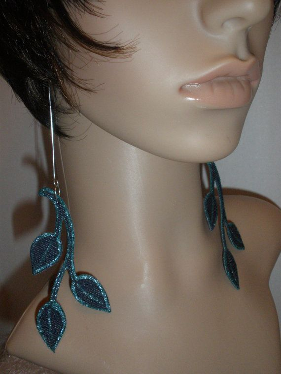 Unique Denim Fabric Dangling Leave Earrings, Ladies Earrings, Womens Earrings, Ladies Jewelry, Free Shipping