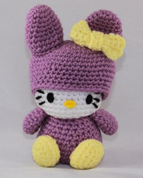 Hello Kitty Doll Hello Kitty Lavender Bunny Crocheted by hookmiup