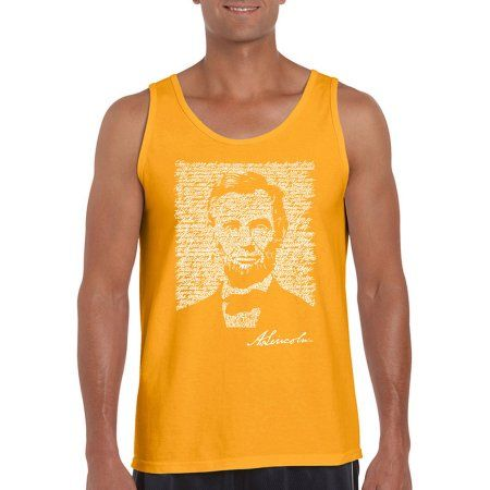 Los Angeles Pop Art Men's Tank Top - Abraham Lincoln - Gettysburg Address, Size: Small, Gold