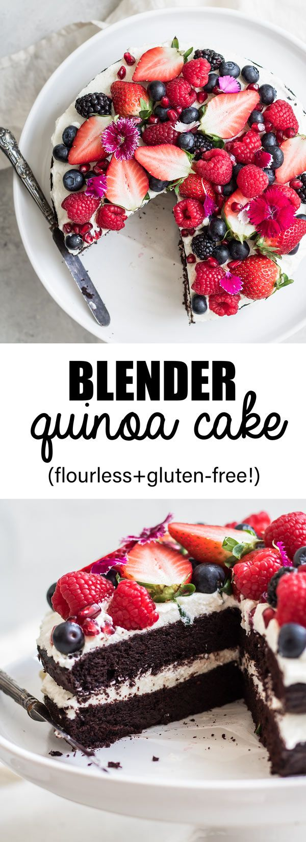 This blender chocolate quinoa cake is a delicious gluten-free cake that is made completely in your blender!