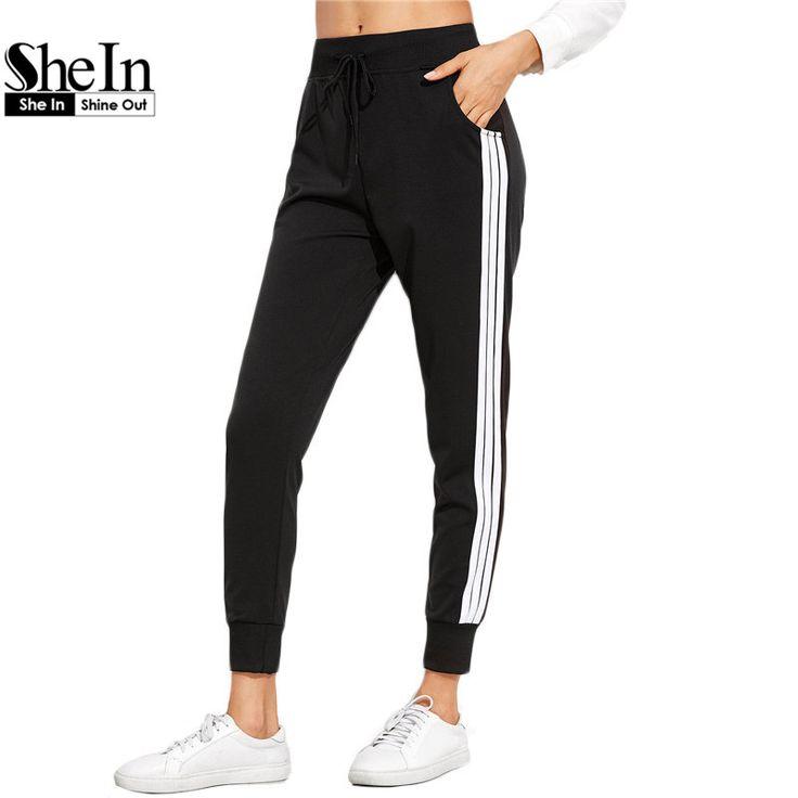 Sheinスウェットパンツ女性カジュアルパンツ巾着ウエスト緩いパンツ用女性秋ブラックストライプ側汗パンツ
