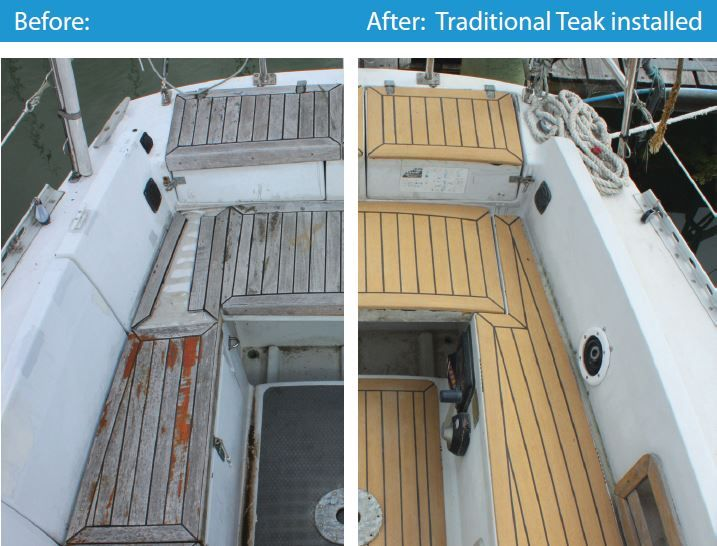 Old Worn Teak Vs New Synthetic Teak Boat Flooring