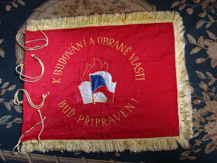 Vereinsflagge Pionier Fahne Tschechoslowakei Humpolec bei Prag Seide bestickt