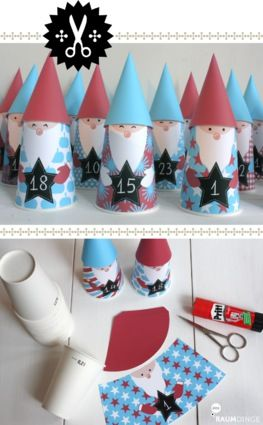 Christmas Elves (made out of either paper cups or toilet paper rolls, scrap paper, foam pieces, & felt pieces) to help countdown to how many days until Christmas