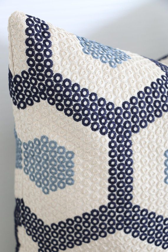 Dark Blue on White embroidered pillow