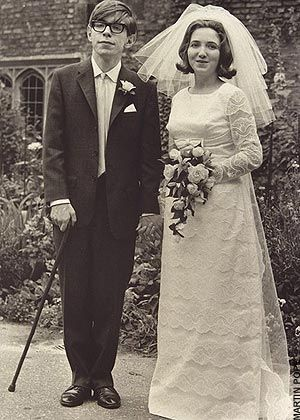 A very young Stephen Hawkings getting married in 1965