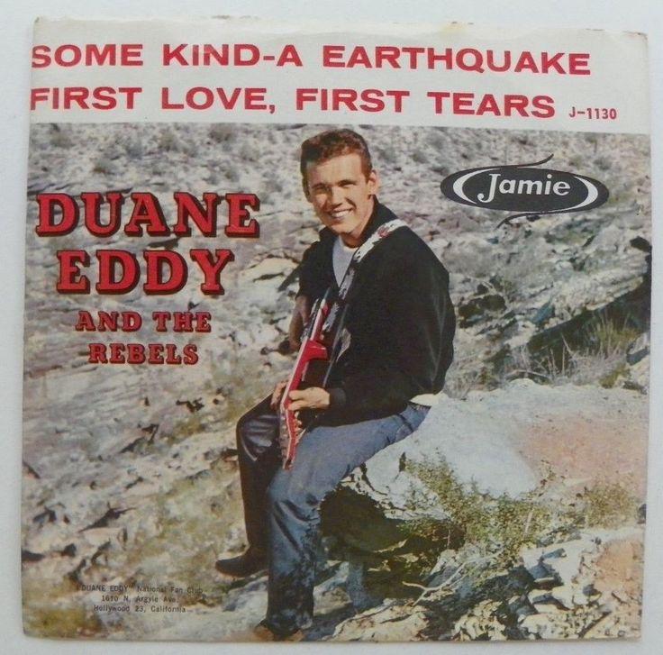 DUANE EDDY 45 RPM PS SOME KINDA EARTHQUAKE ~FIRST LOVE JAMIE J-1130 NM 1959 #PopRock
