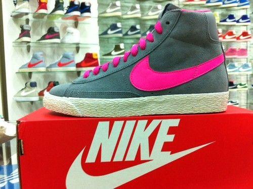Scarpe Nike Blazer High Vintage Alte Grigio Fuxia GS Junior Ragazza Donna Tela €64.00