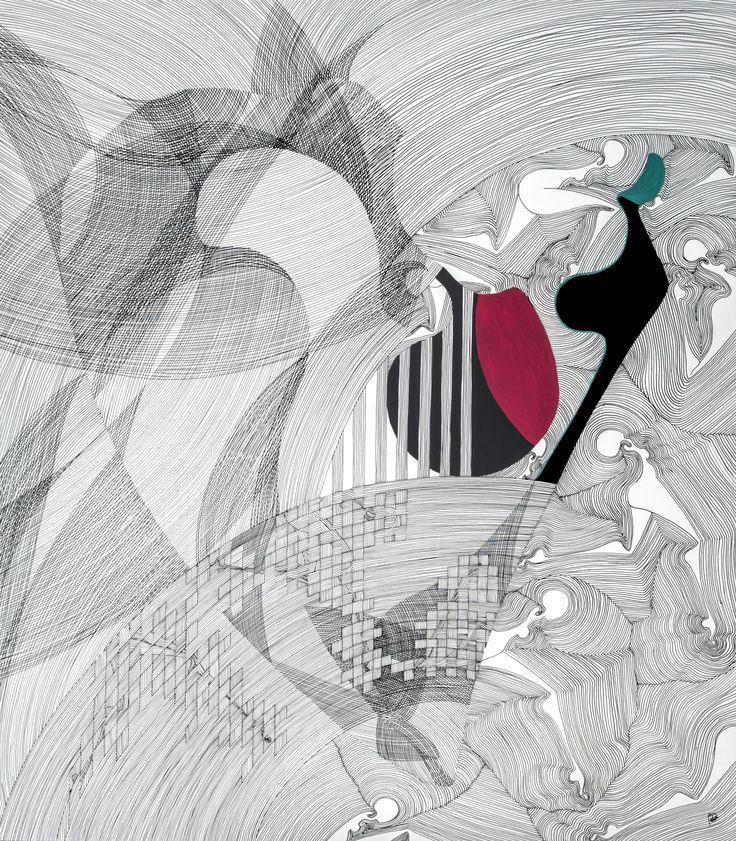 'imprisoned', 'imprisoned' -2015, dip pen and brush with ink on paper, 80x70cm
