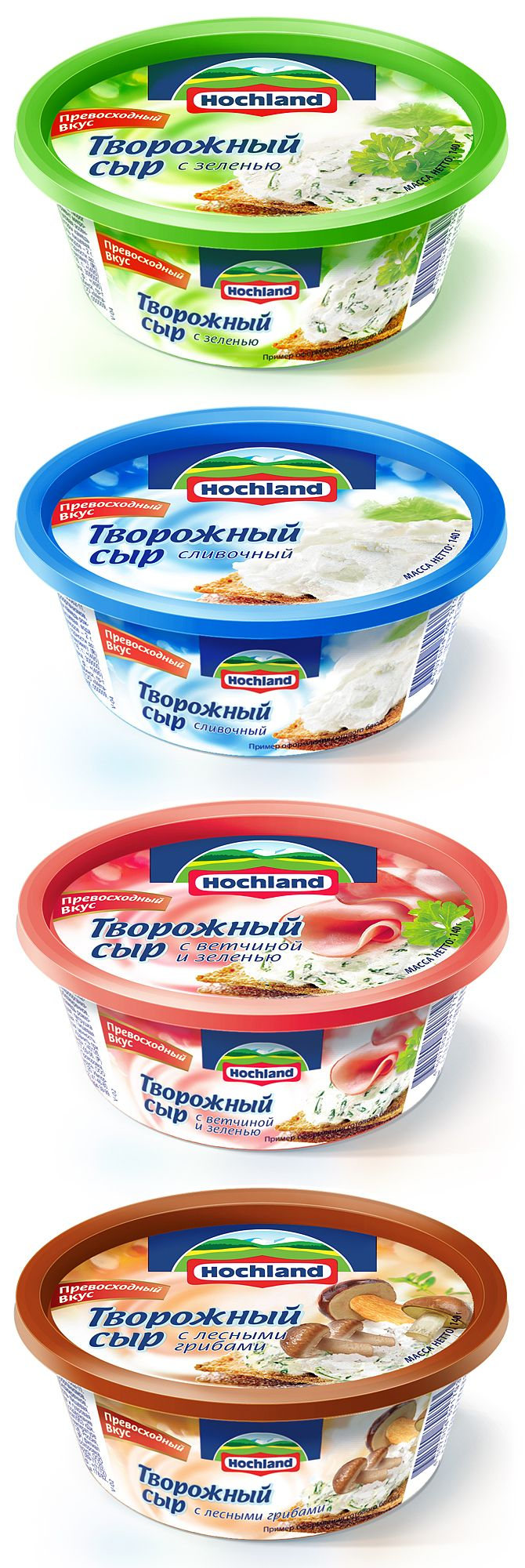 """Hochland company launched new range of products cream cheese – classic and flavored with herbs. We developed package design for the new SKUs. In general design corresponds to the Hochland """"family"""" food products. The design is filled with a delicate feeling of lightness, airiness and freshness. The closeups of the cream cheese itself emphasize it's soft taste. Looks yummy as always! http://www.getbrand.com/blog/design-for-hoc…d-cream-cheese/"""
