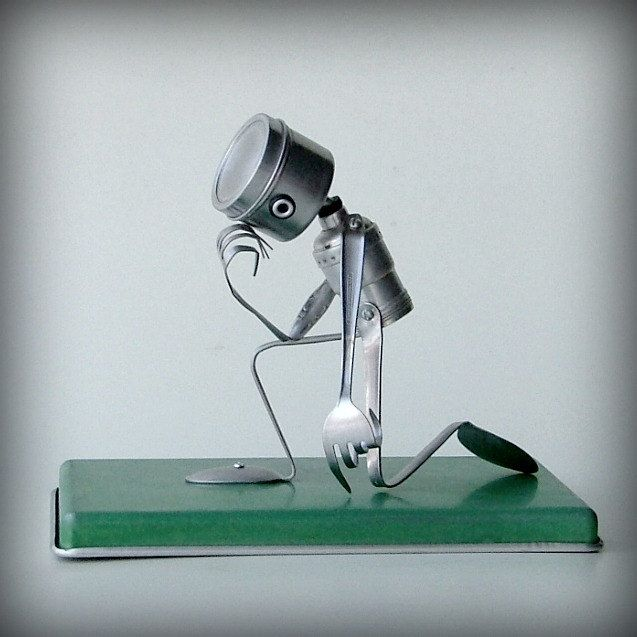 recycled art sculptures   Tebowing robot recycled art sculpture kitchen robot by leuckit