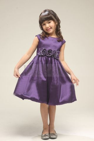 Tea-length Purple Flower Girl Dresses Appliques and Bowtie