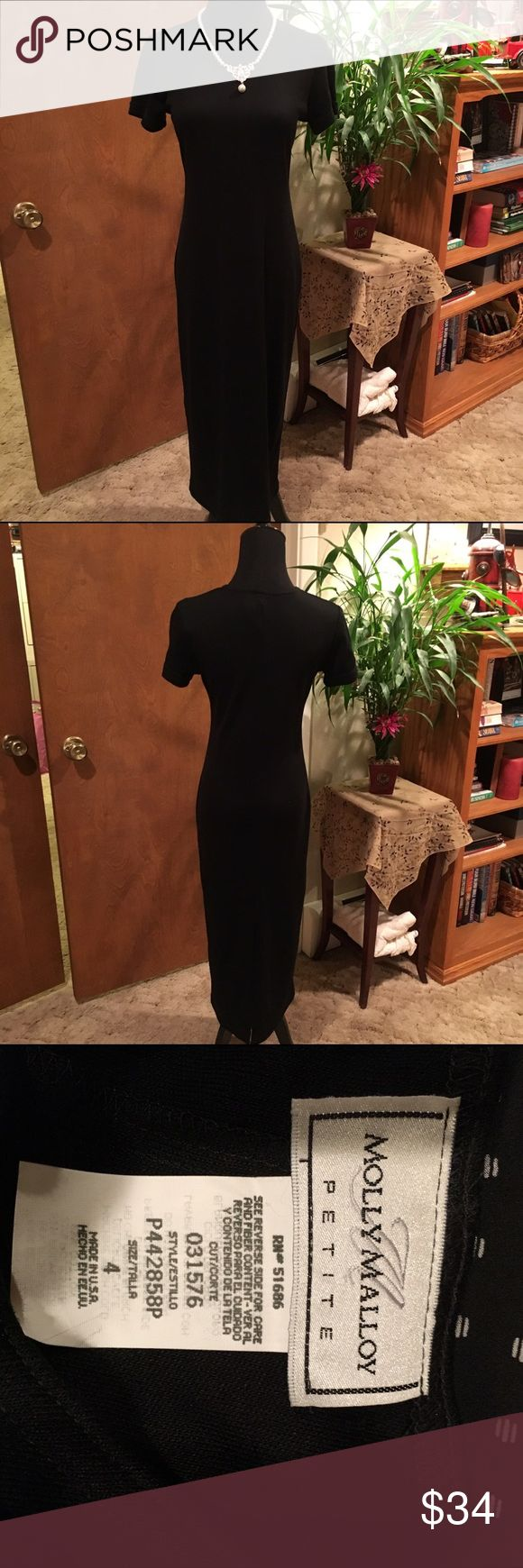 "Molly Malloy Petite dress size 4. This petite dress is considered tea length and a size 4 and is solid black. Measurements are shoulder to arm is 6"", bust laid flat is 16"", and shoulder to hem is 45"". Molly Malloy Dresses Maxi"