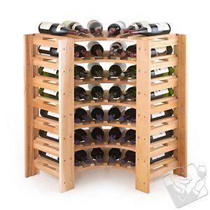 swedish 42 bottle curved corner wine rack natural at wine enthusiast