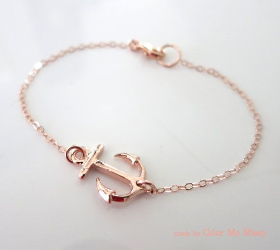 Lucky Rose Gold Anchor bracelet - simple rose gold filled bracelet with Anchor, best friends, sisters, mum, navy, sea, teacher - N0008RG