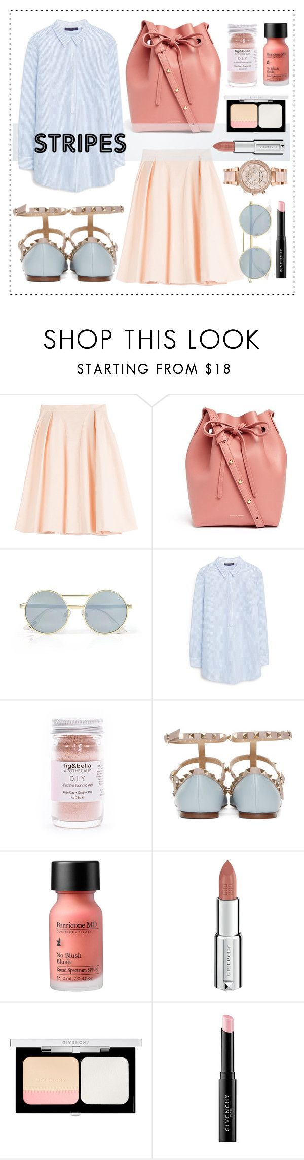 """One Direction: Striped Shirts"" by alaria ❤ liked on Polyvore featuring mode, Tara Jarmon, Mansur Gavriel, Le Specs, MANGO, Perricone MD, Givenchy, Michael Kors et stripes"