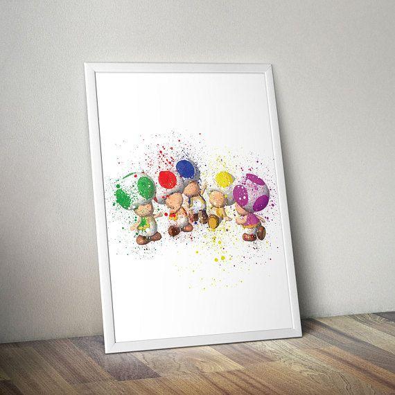 Mario Inspired Poster Print - Toads | Watercolour | Video Game Art | Kids Room Art | Minimalist | Mario Poster | Nintendo