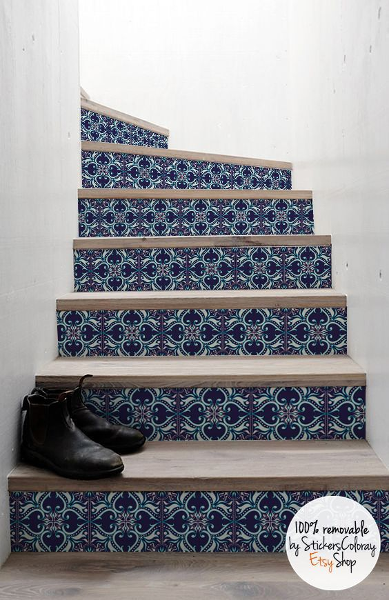 10 step stair riser decal navy and white decorative tiles